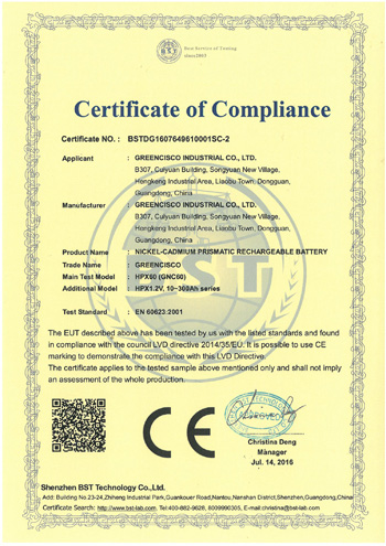 IEC60623 Test for Nickel cadmium battery